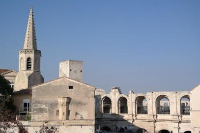View of the amphitheatre of Arles.