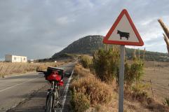 Cycling to Baelo Claudia.