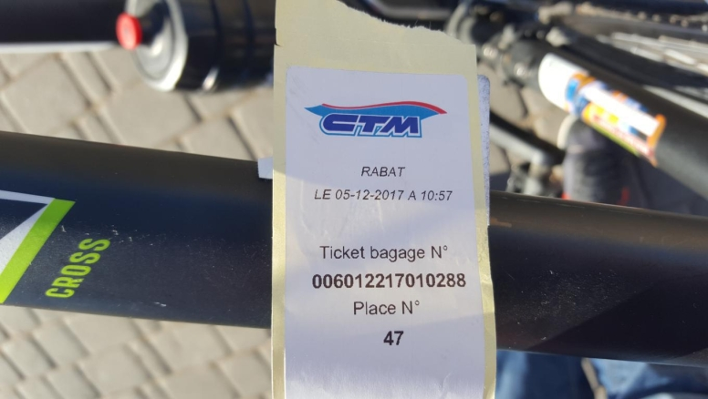 Luggage label for the bike.