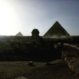 Giza, pyramids and sphinx.