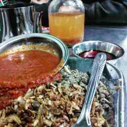 Eating Koshari.