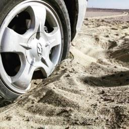 Stuck in the desert sand.