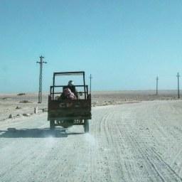 Following a random guy through the desert.