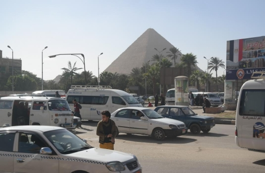 Approaching the Giza pyramids.